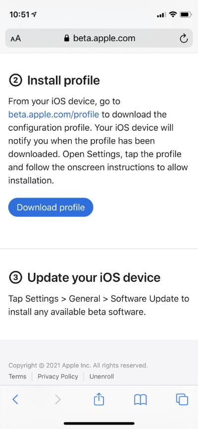 Tap on Download profile1 - Как загрузить и установить публичную бета-версию iOS 15 и iPadOS 15