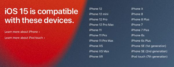 iOS 15 iPhones1 - iOS 15 и iPadOS 15 будут работать на всех iPhone и iPad, поддерживающих iOS 14 и iPadOS 14
